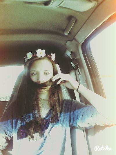 Casual Day Eyes Flower Crown Hair Hair Mustache In Car Lifestyles