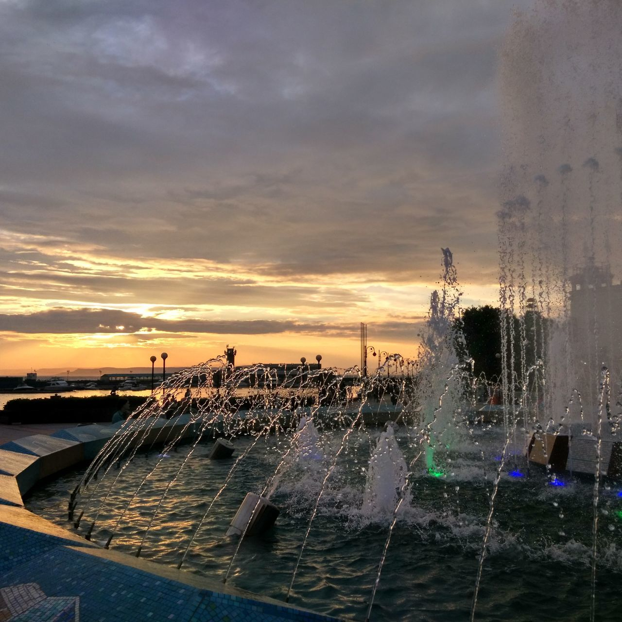 water, motion, sunset, splashing, sky, cloud - sky, long exposure, outdoors, spraying, no people, nature, sea, beauty in nature, scenics, architecture, day