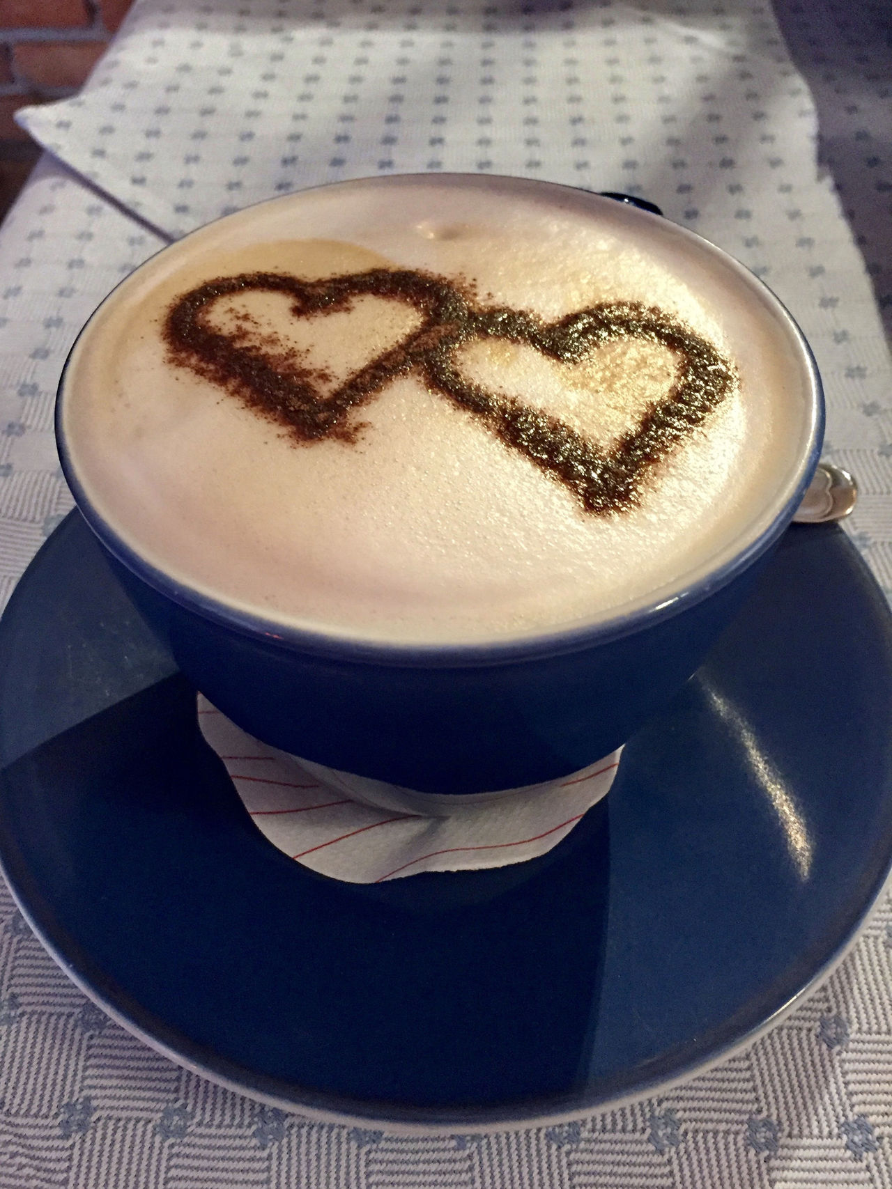 Cappuccino Cappucino Close-up Coffee - Drink Coffee Cup Cup Day Double Hearts Drink Food And Drink Freshness Froth Froth Art Frothy Drink Heart High Angle View Indoors  Latte Mocha No People Refreshment Saucer Table