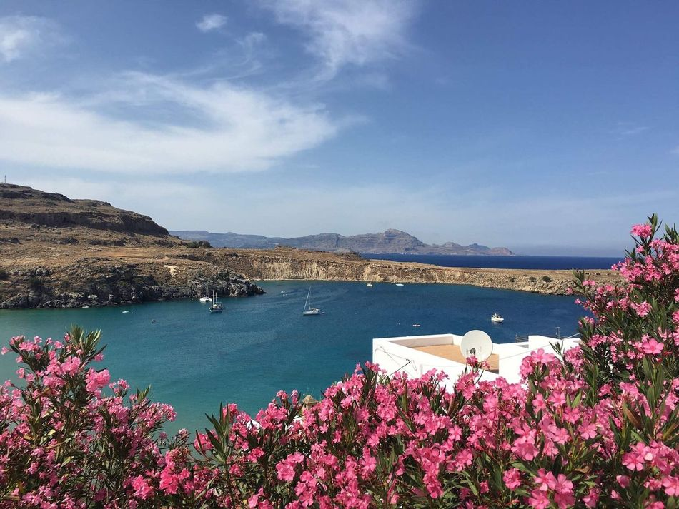 Greece Rhodos Lindos Sea Ocean Summer Ship Flowers Europe Freedom Beauty In Nature EyeEmNewHere Art Is Everywhere