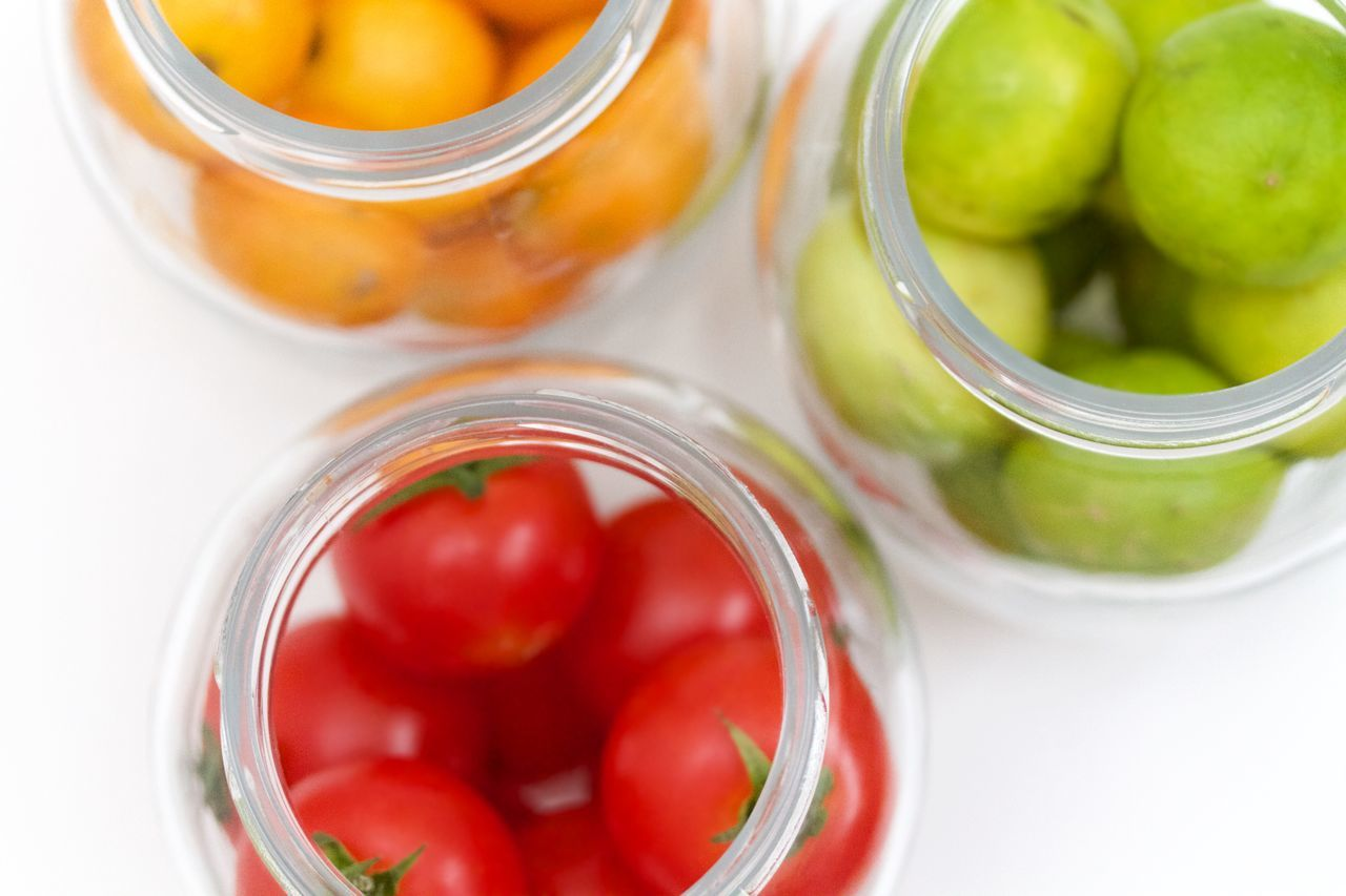 tomatoes, lemons and oranges in jars on white background Close-up Day Drink Drinking Glass Food Food And Drink Freshness Fruit Healthy Eating Healthy Lifestyle Indoors  Jar Lemon No People Orange Ready-to-eat Red Smoothie Tomatoes Vegetable