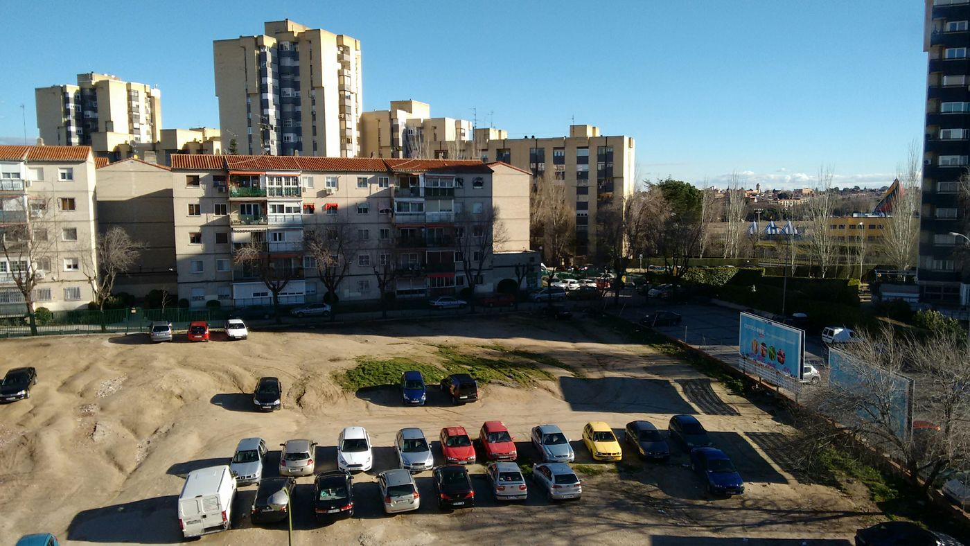 city madrid morning spain cars waste ground