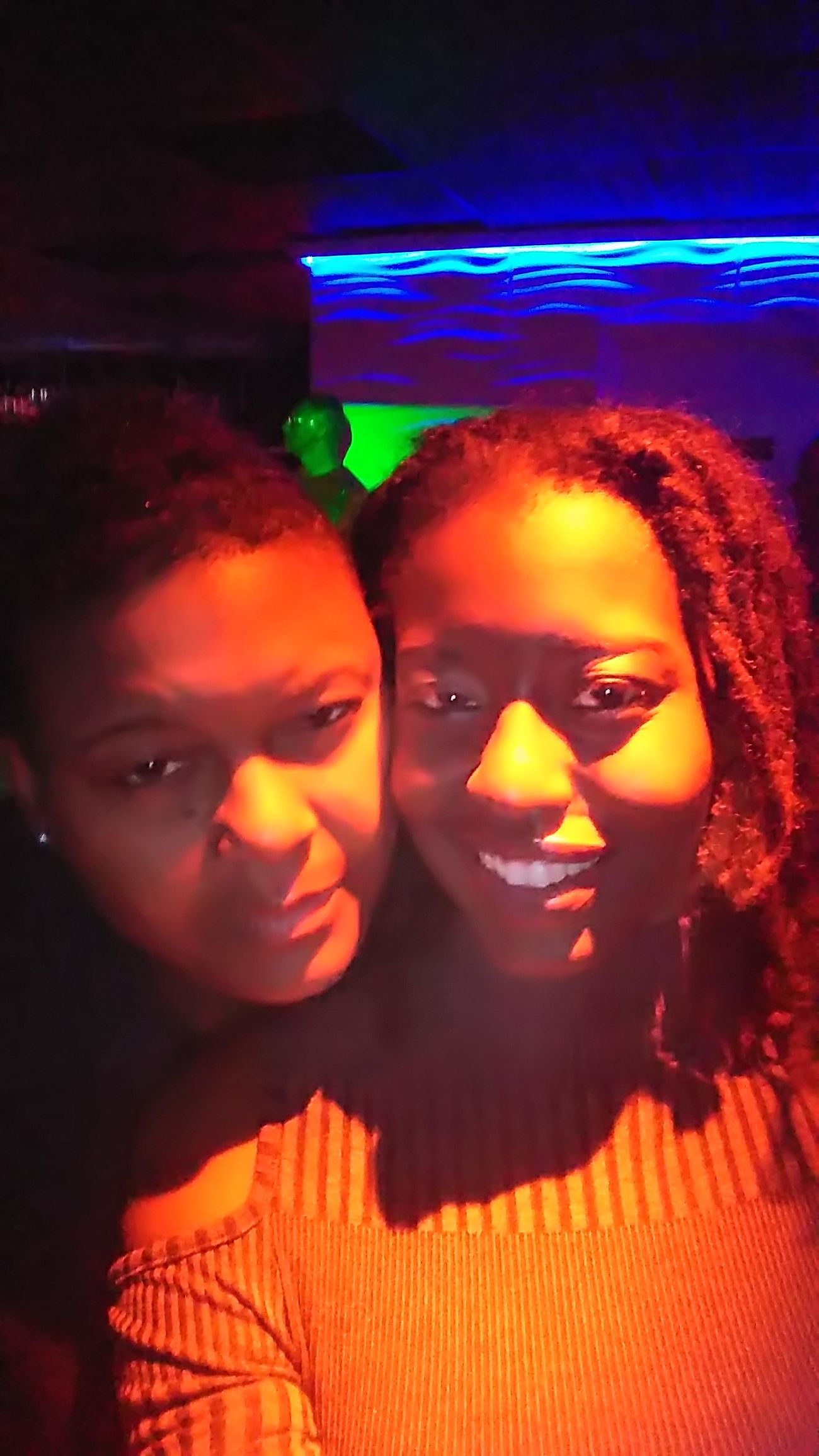 Two People Night Love Nightlife Looking At Camera Portrait Embracing Illuminated Girlswholovegirls Beautiful Woman Happiness Expressions Smiling Lesbian ♥ Celebration Togetherness Human Face Party - Social Event Human Body Part Close-up Red Lesbian Femmefatale Lifestyles Natural Hair