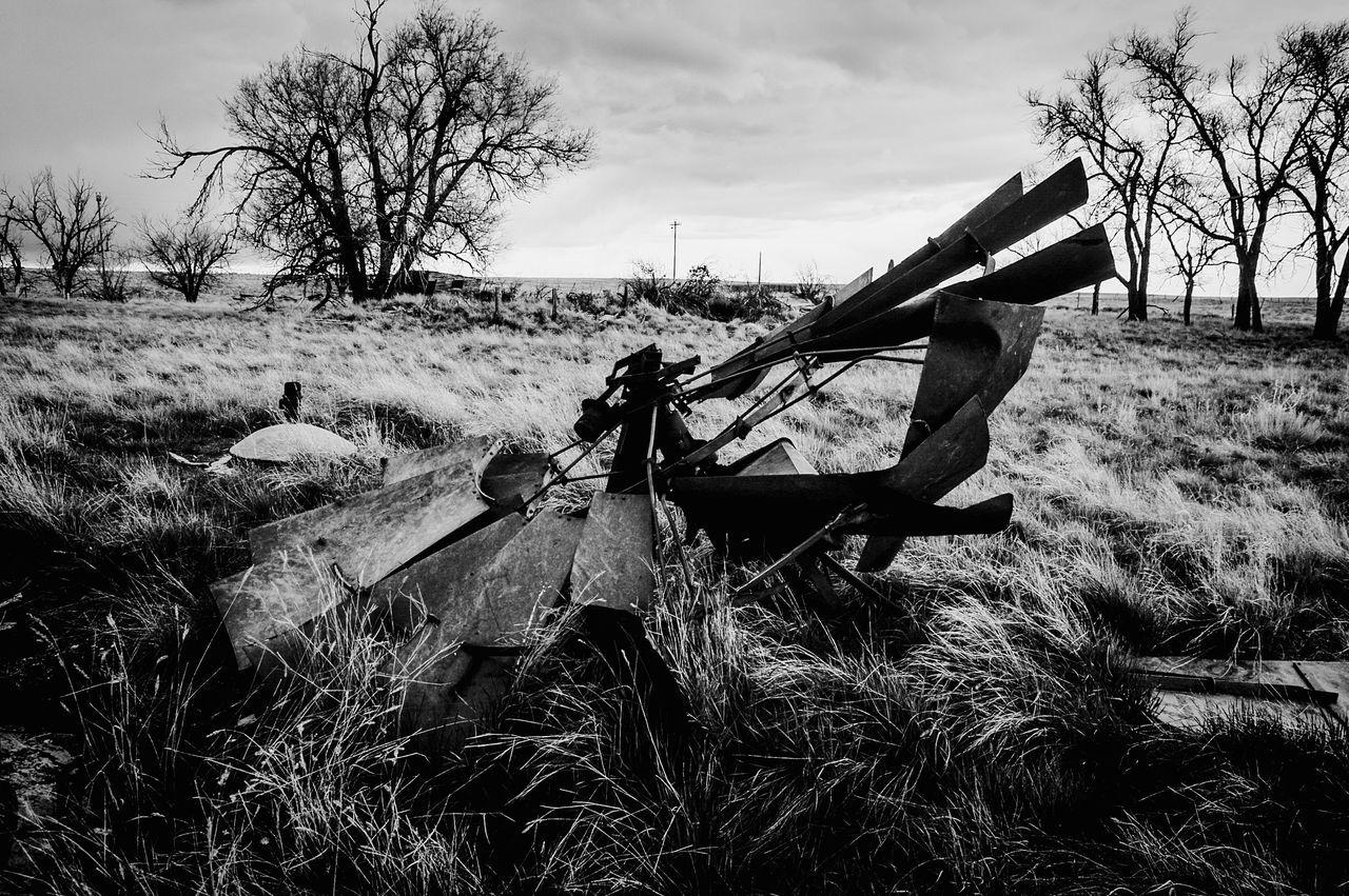 Rusting windmill head Abandoned Bare Tree Day East Of Van Tassel Wyoming Landscape No People Old And Rusty Outdoors Sky West Of Harrison Nebraska BYOPaper! BYOpaper