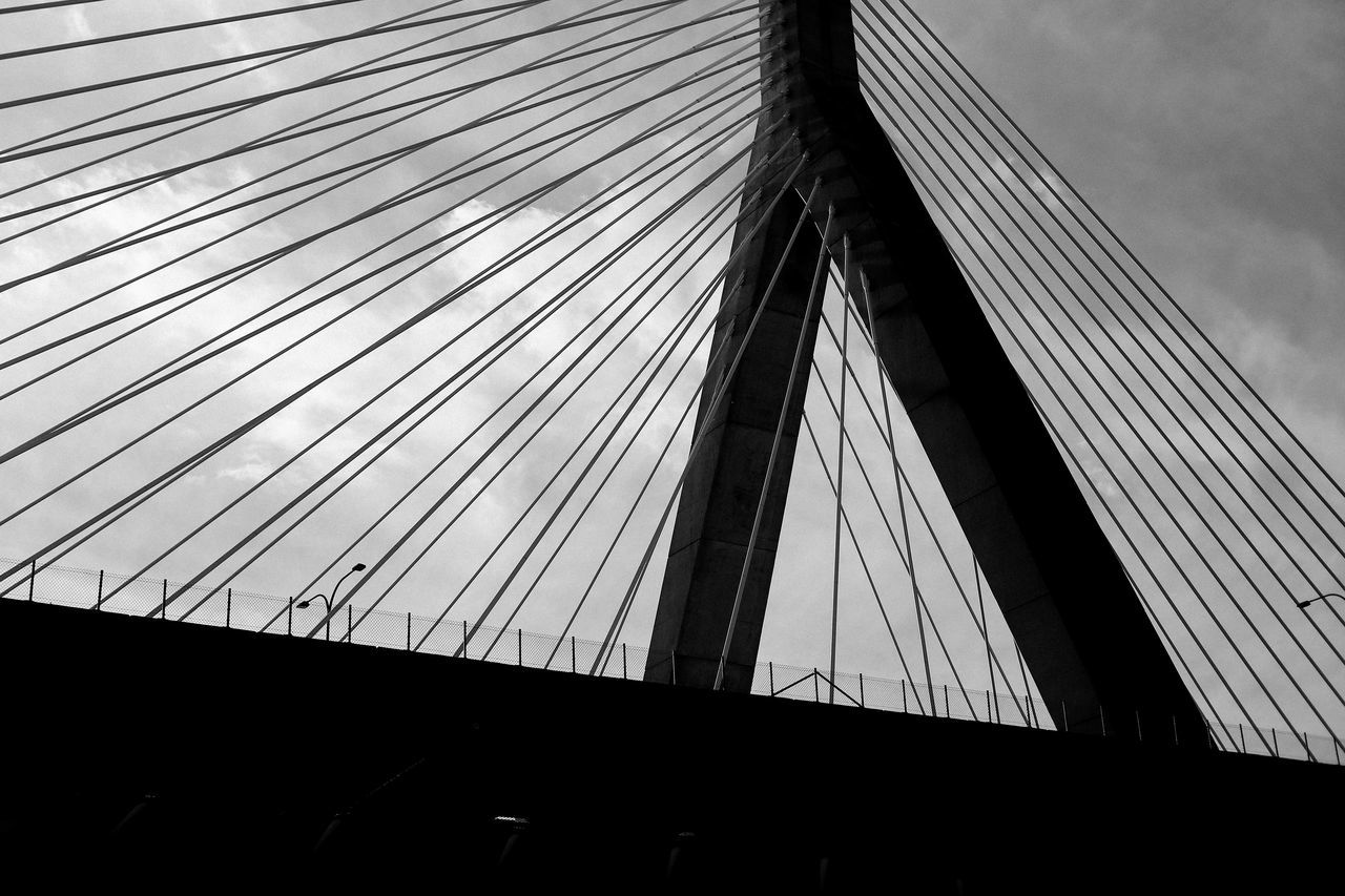 Architecture Blackandwhite Boston Bridge Built Structure Low Angle View No People Sky Steel Cable Urban Geometry