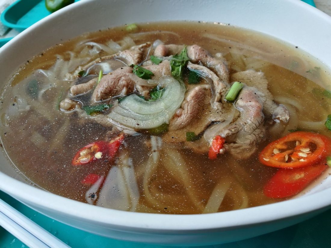 Having a nice Bowl of Vietnamese Sliced Beef Pho Soup Noodle Healthy Eating Food