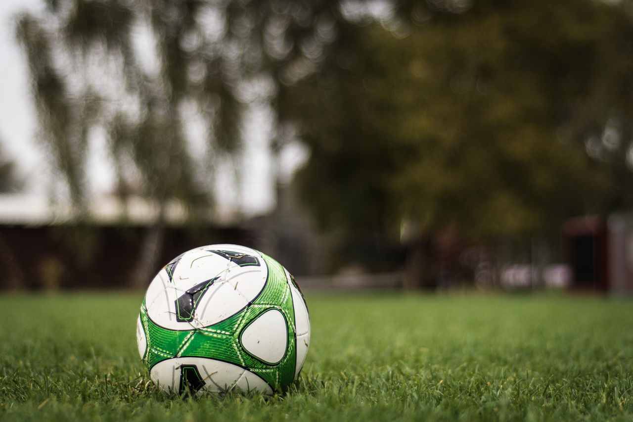 Close-Up Of Soccer Ball On Playing Field