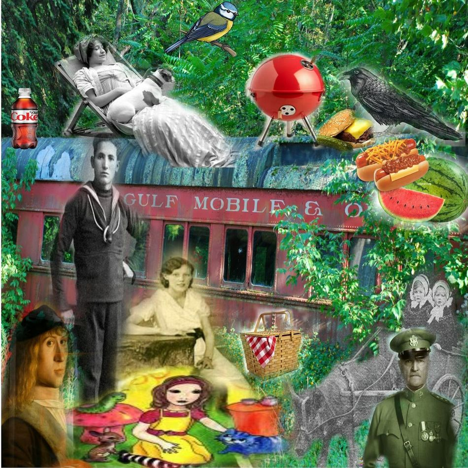 THE PICNIC -an abadoned restaurant rail car, n.j. Photocollage Colorsplash Surrealism Collage Collage Art Collageoftheday