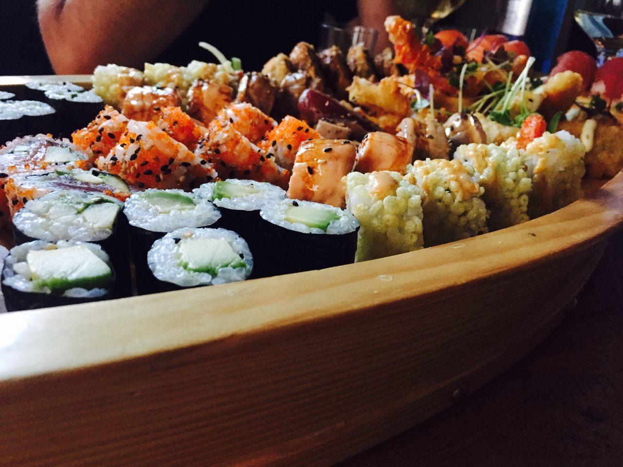 Close-Up Of Food In Wooden Container On Table