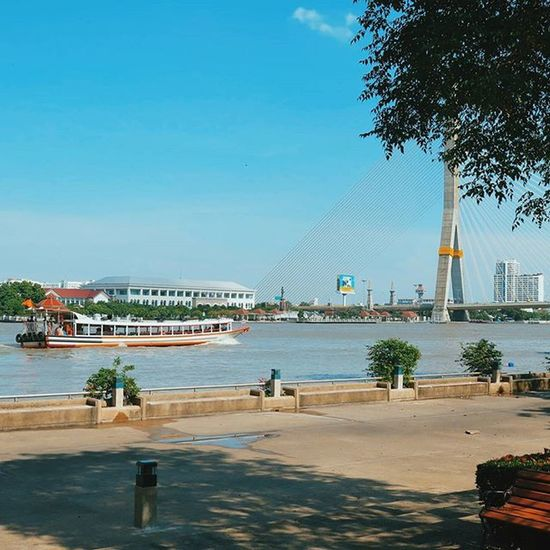 Chaophraya Riverside at PomPraSumen Park. Bangkok Thailand Travel Travelshots Everydayasia Everydaylife Explorebkk Streetphotography Cityscene Amazingthailand Riverview Blueskies Feel The Journey