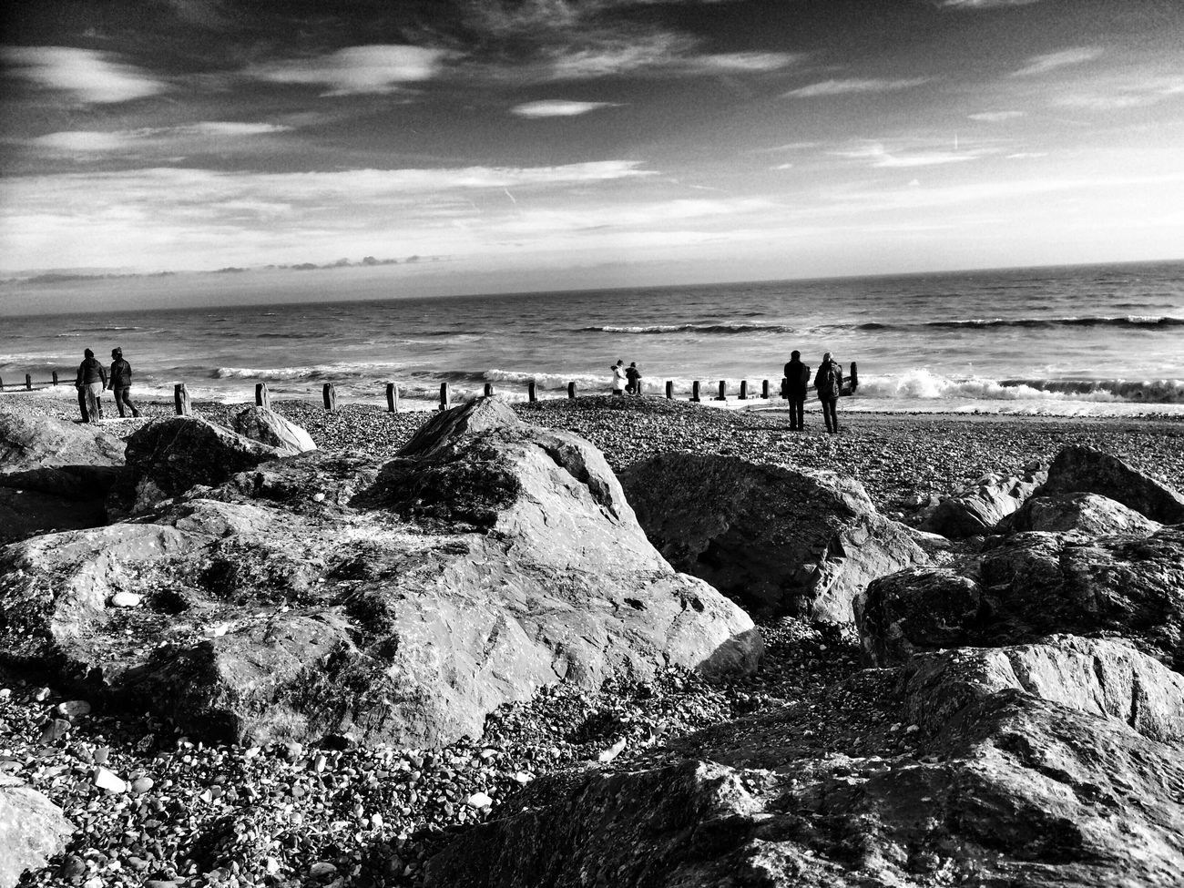 Rocks. Sea Sky Horizon Over Water Beach Blackandwhite Fortheloveofblackandwhite Monochrome Monochrome Photography Monoart Monochromatic Bnw IPhoneography