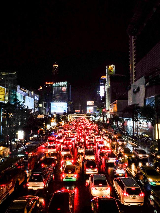 City Life In A Row Night Red Rush Hour Traffic Traffic Jam Traffic Lights