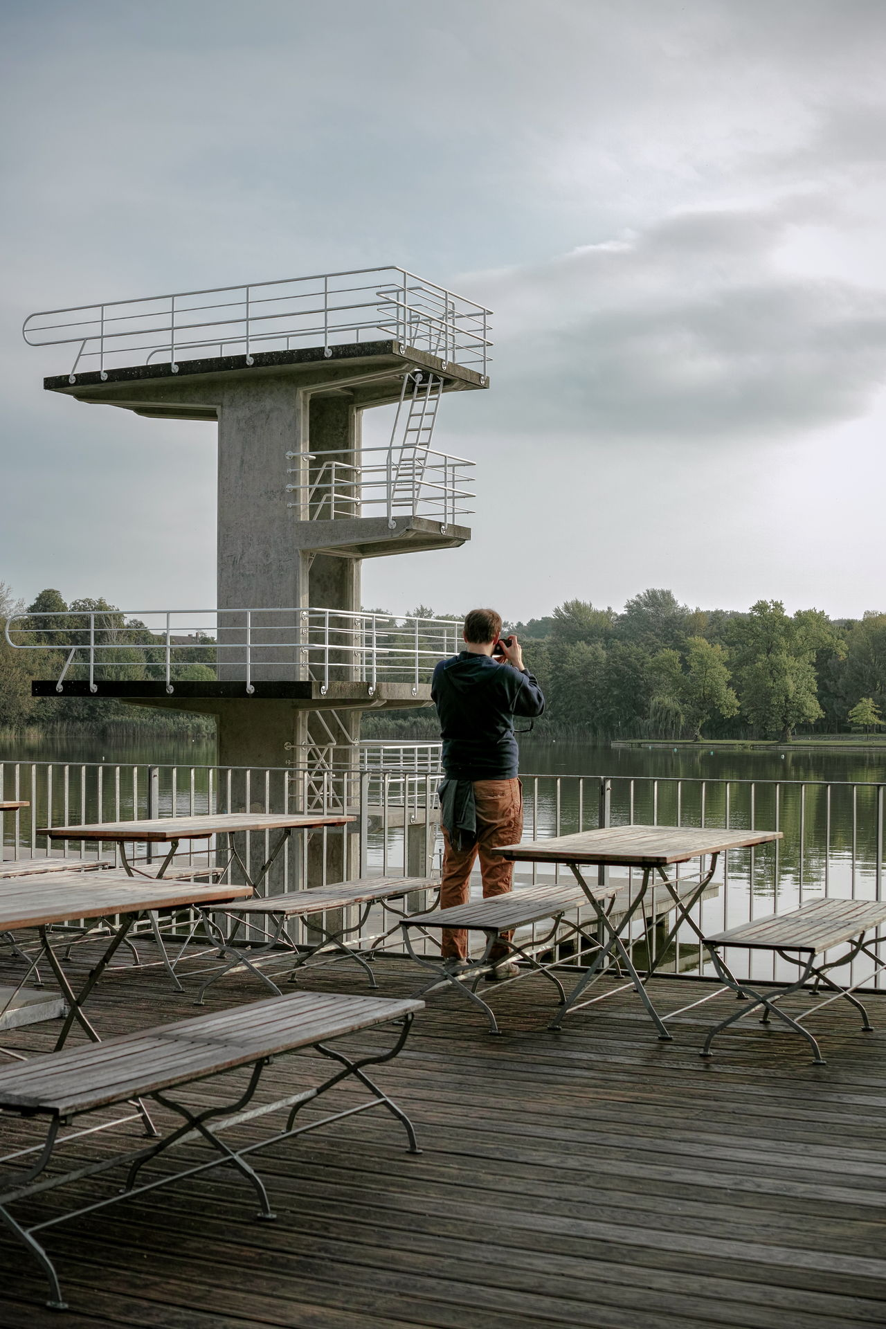 Woog Architecture Building Exterior Built Structure Cloud - Sky Darmstadt Day Diving Platform Lake Leisure Activity Lifestyles Man Nature One Person Outdoors Photographer Real People Rear View Sightseeing Sky Standing Tree Water Woog