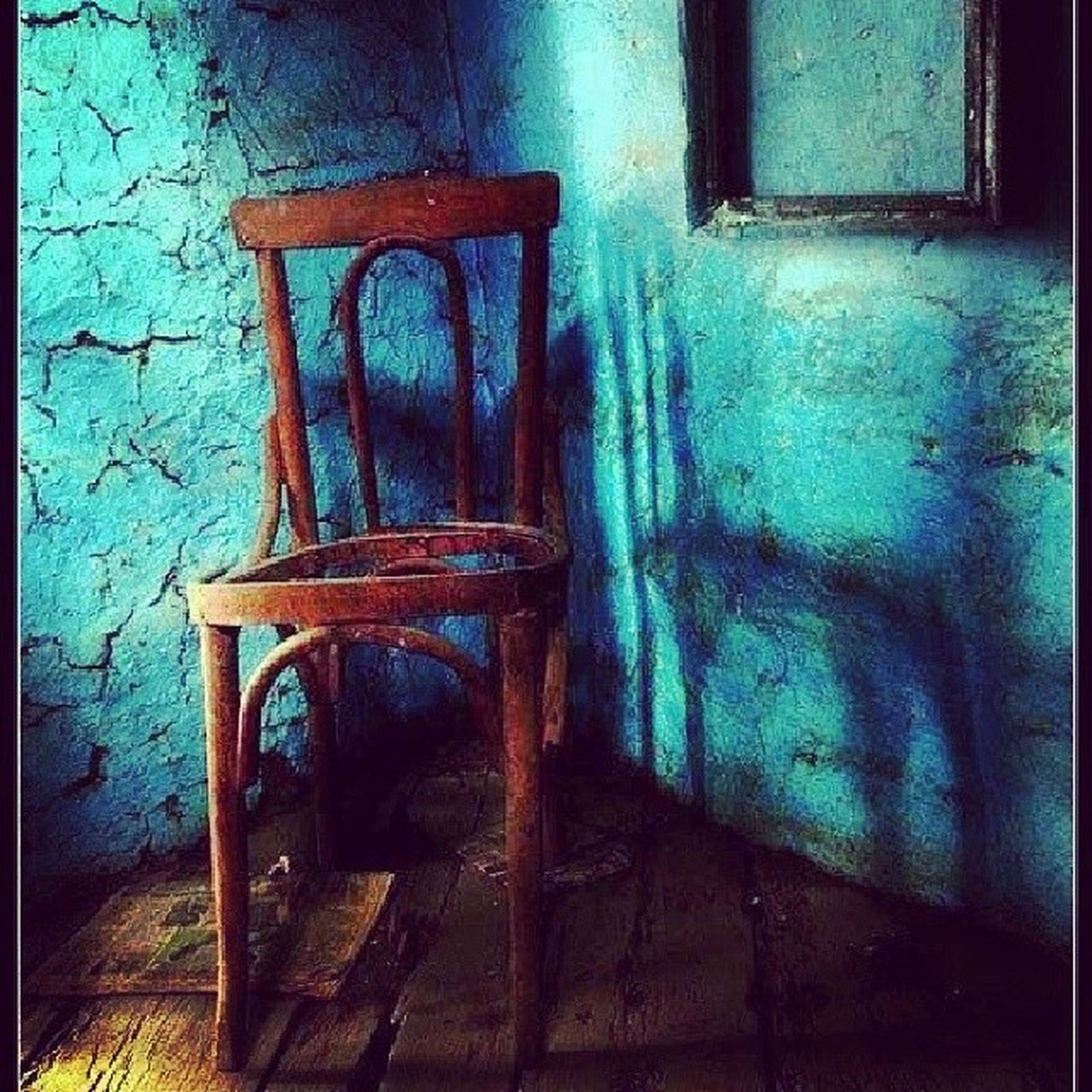 abandoned, indoors, old, absence, empty, chair, obsolete, damaged, weathered, built structure, wood - material, wall - building feature, run-down, house, deterioration, window, door, sunlight, architecture, wall