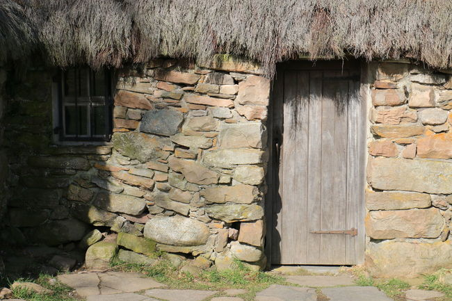 Abandoned Ancient Building Exterior Cottage Culloden Door Entrance House Leannach Old Stone Wall Weathered Window