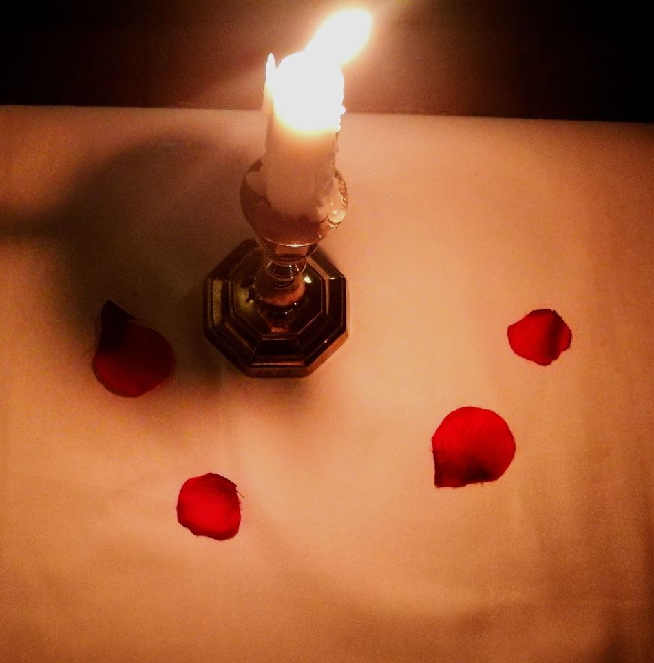 Candle Red No People Burning Close-up Table Flame Indoors  Petals