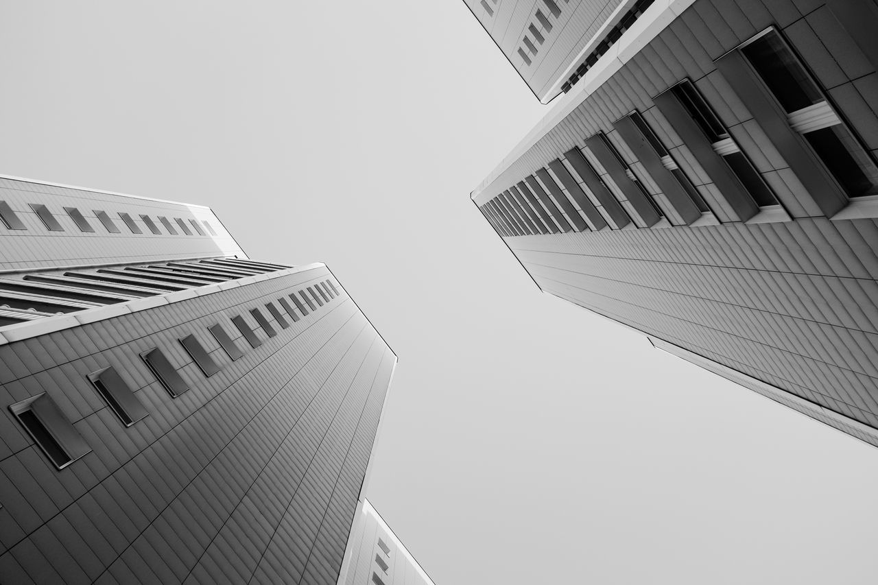 Architecture Berlin Black And White Black And White Photography Blackandwhite Building Built Structure Directly Below Lookingup Low Angle View Modern Office Building Sky Skyscraper Tower The Architect - 2016 EyeEm Awards