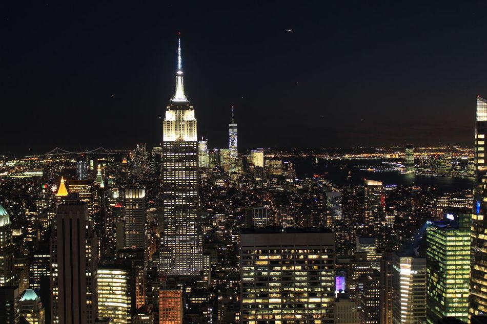 Architecture City Cityscape Lights On New York New York At Night New York City Night Outdoors Sky Skyline Skyline At Night Skyscraper Tower Travel Destinations
