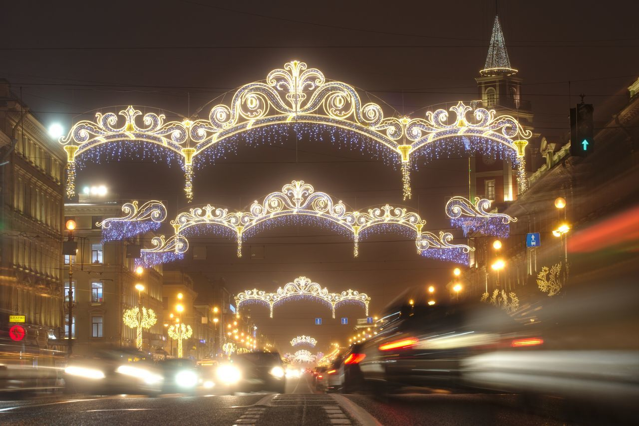 Nevsky Prospect, decorated to New Year. Cars Christmas Lights City Street Decoration Garlands Long Exposure Nevsky Prospect New Year Night Night Lights Prospect Saint Petersburg Street Twilight