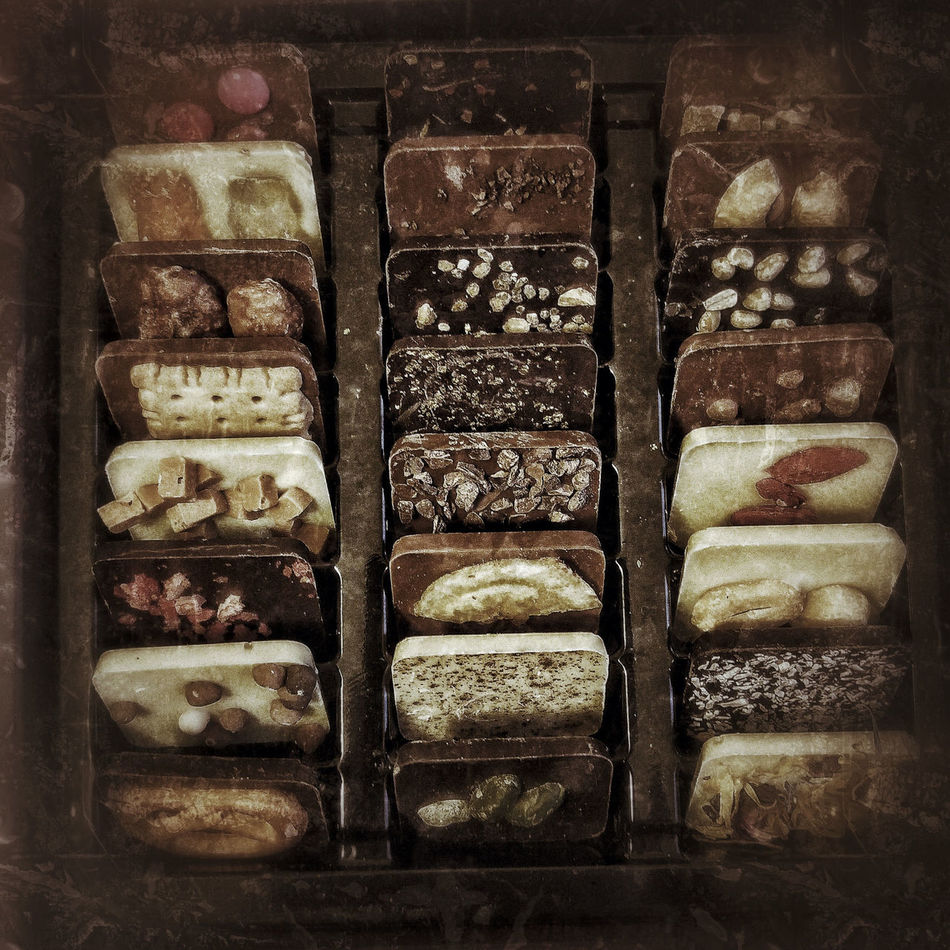 different chokocakes in a bos Abundance Arrangement Backgrounds Chocolate Chocolate♡ Choice Chokocake Close-up Collection Day Display Full Frame Heap In A Row Large Group Of Objects No People Repetition Retail  Side By Side Stack Still Life Sweets Variation