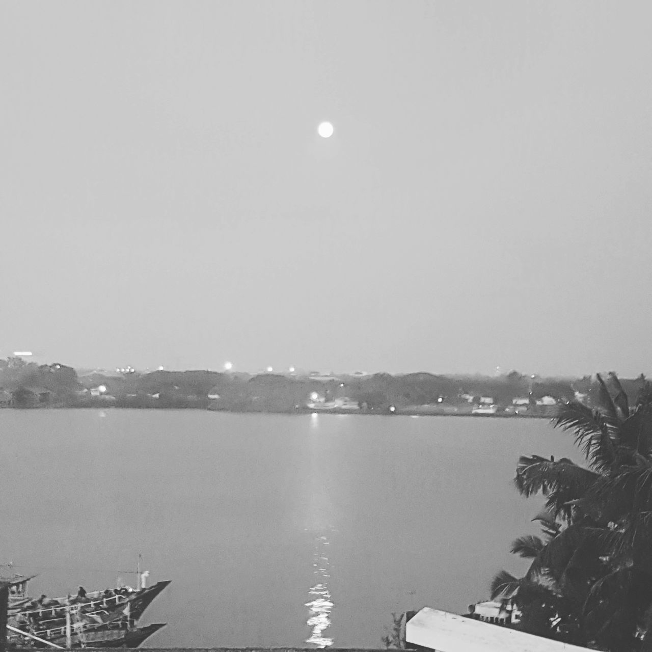 Full Moon Sea Outdoors Night Vision Black & White