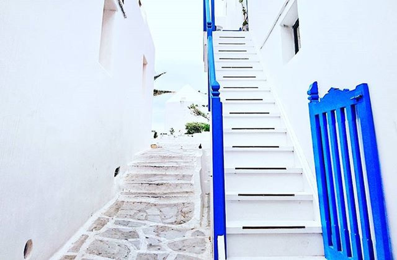 Mykonostown Whiteandblue Stairs Greece