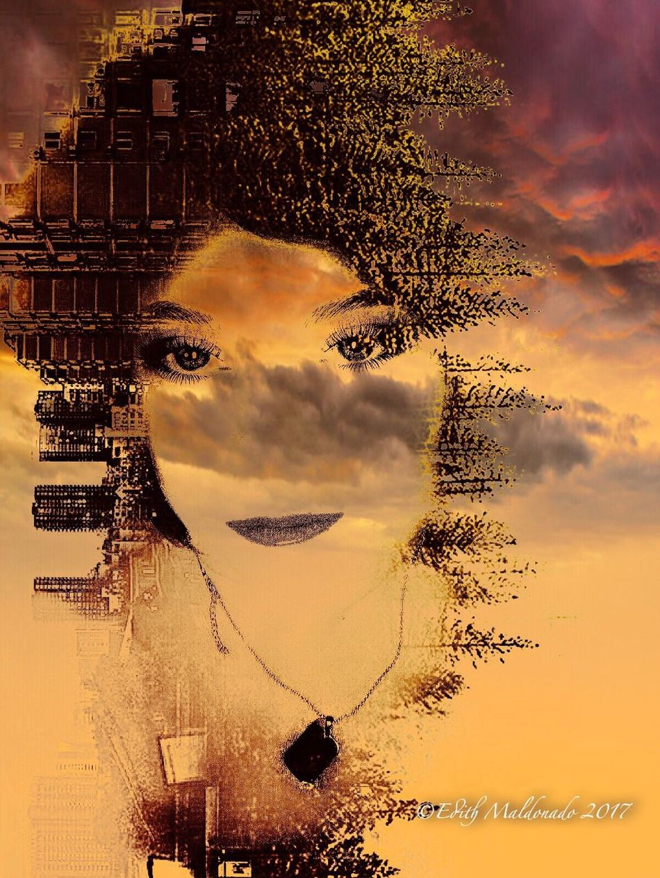 Humanity vs Human... Face Portrait One Person Cloud - Sky Sky Close-up Outdoors Day Digital Art Buildings Photography Digital Composite Sunset Real People Multiple Image Young Adult Pixelated People Myartwork Nature Eye4photography  Creativity First Eyeem Photo Edited My Way EyeEm Best Edits