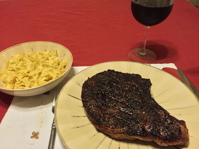 Grilled ribeye steak with my brown sugar/espresso dry rub. Served with buttered noodles and my homemade 2013 Italian Amarone wine. ICanCookMyAssOff ItsAnItalianThing Grilling HomemadeItalianWine Ribeye Steak Nomnombomb Food Porn Awards MyFoodPics Food Porn