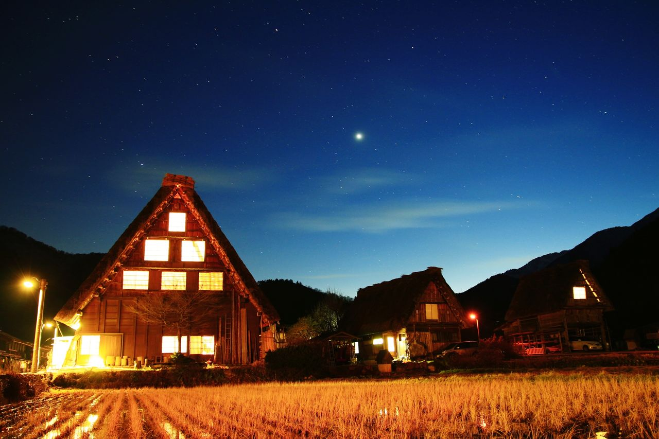 Night House Sky Nature Sirakawagou Japan Gihu-ken