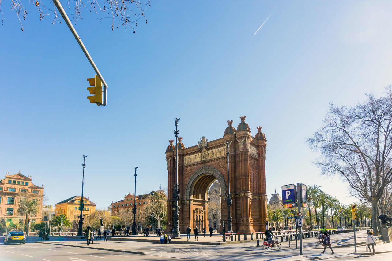 Arc De Triomf Arch Architecture Building Exterior Built Structure City Clear Sky Day Large Group Of People Nature Outdoors People Real People Sky Tree