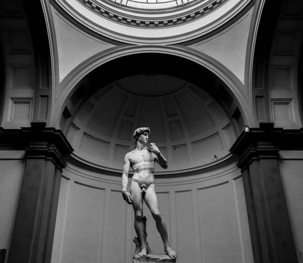 Galerie De Accademia Michelangelo Florence Italy Low Angle View Renaissance Sculpture Statue Of David