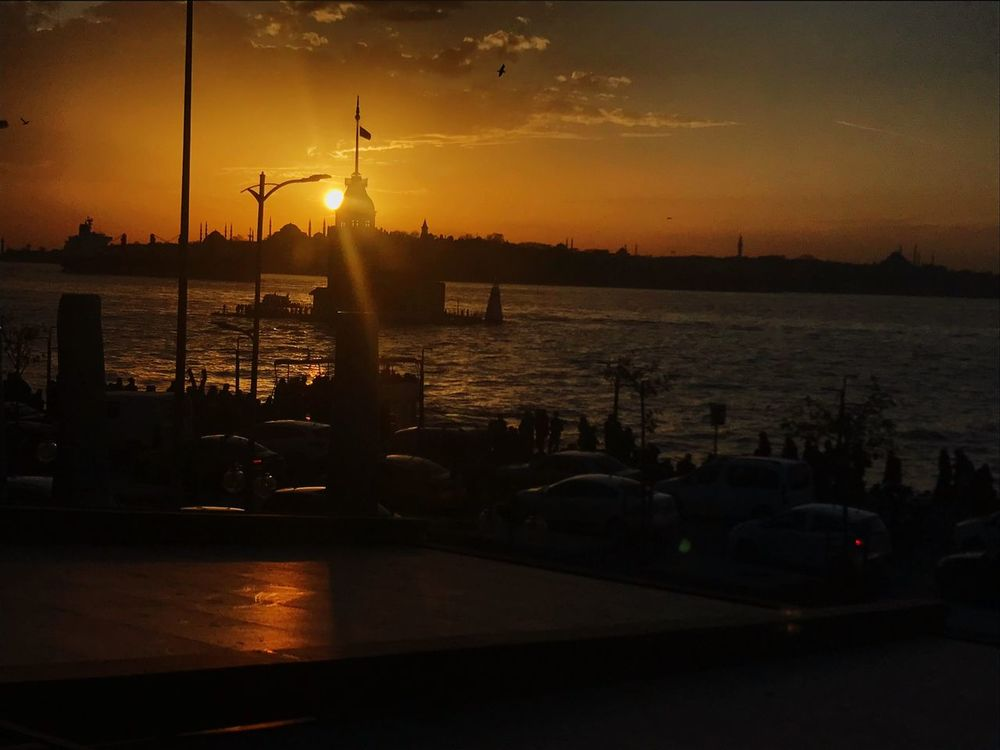 Sunset Water Silhouette Sky Sun Sea Nature Transportation Nautical Vessel Harbor No People Beauty In Nature Outdoors Illuminated Istanbul Turkey Istanbuldayasam Istanbulda1yer Beauty In Nature Nature People Istanbul Day Sunset_collection