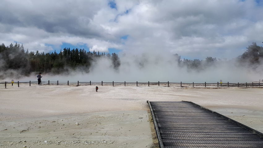 Wai O Tapu Geothermal Area Rotorua  Steam Landscape Sky New Zealand Boardwalk Mineral Flats Water Outdoors Day Sky Nature No People
