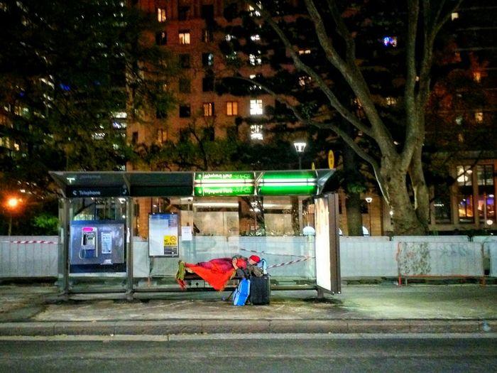Streetphotography Sleeping Rough Homeless Bus Stop Melancholy Desperation Night Night Photography