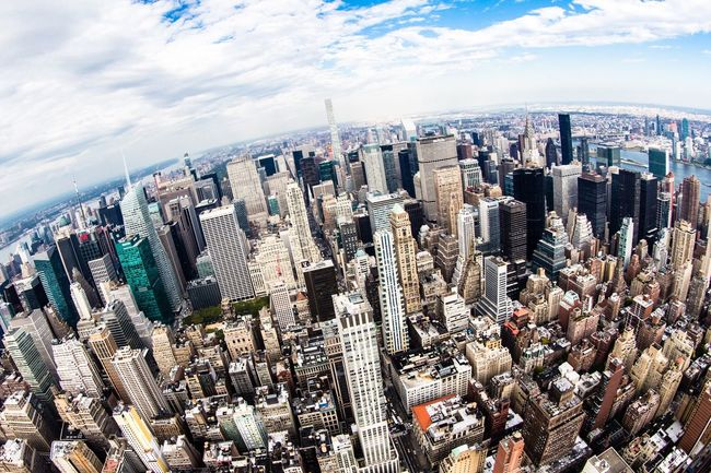 NYC citiscape | with my Canon City Cityscape Skyscraper Aerial View Building Exterior Urban Skyline Outdoors Architecture City Life Modern No People Downtown District Horizontal Day New York New York City Manhattan Fisheye