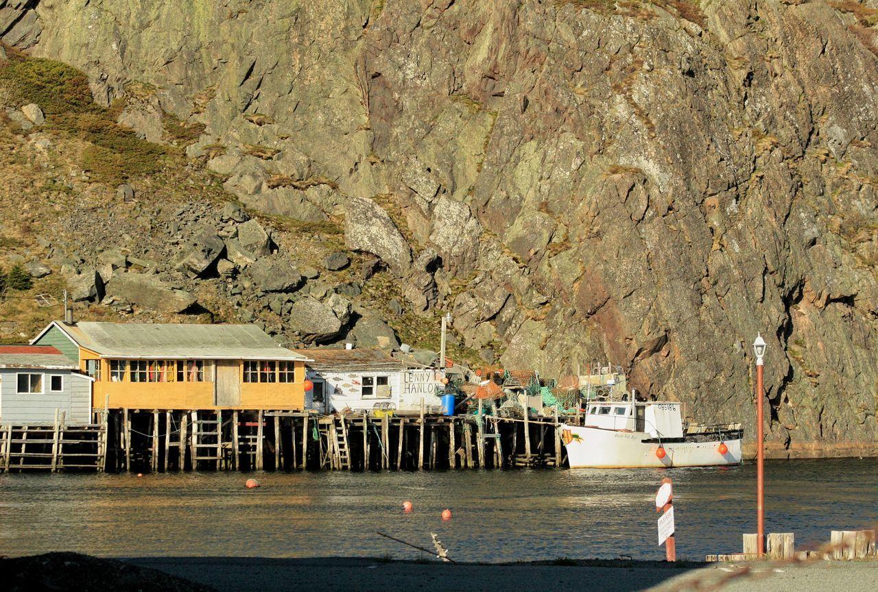 Quidi Vidi fishing village, St. John's, Newfoundland, May 2010. Quidi Vidi Fishing Village Fishing Storage Shacks Fishing Boats Newfoundland Explore Newfoundland Ragged Rock The Rock