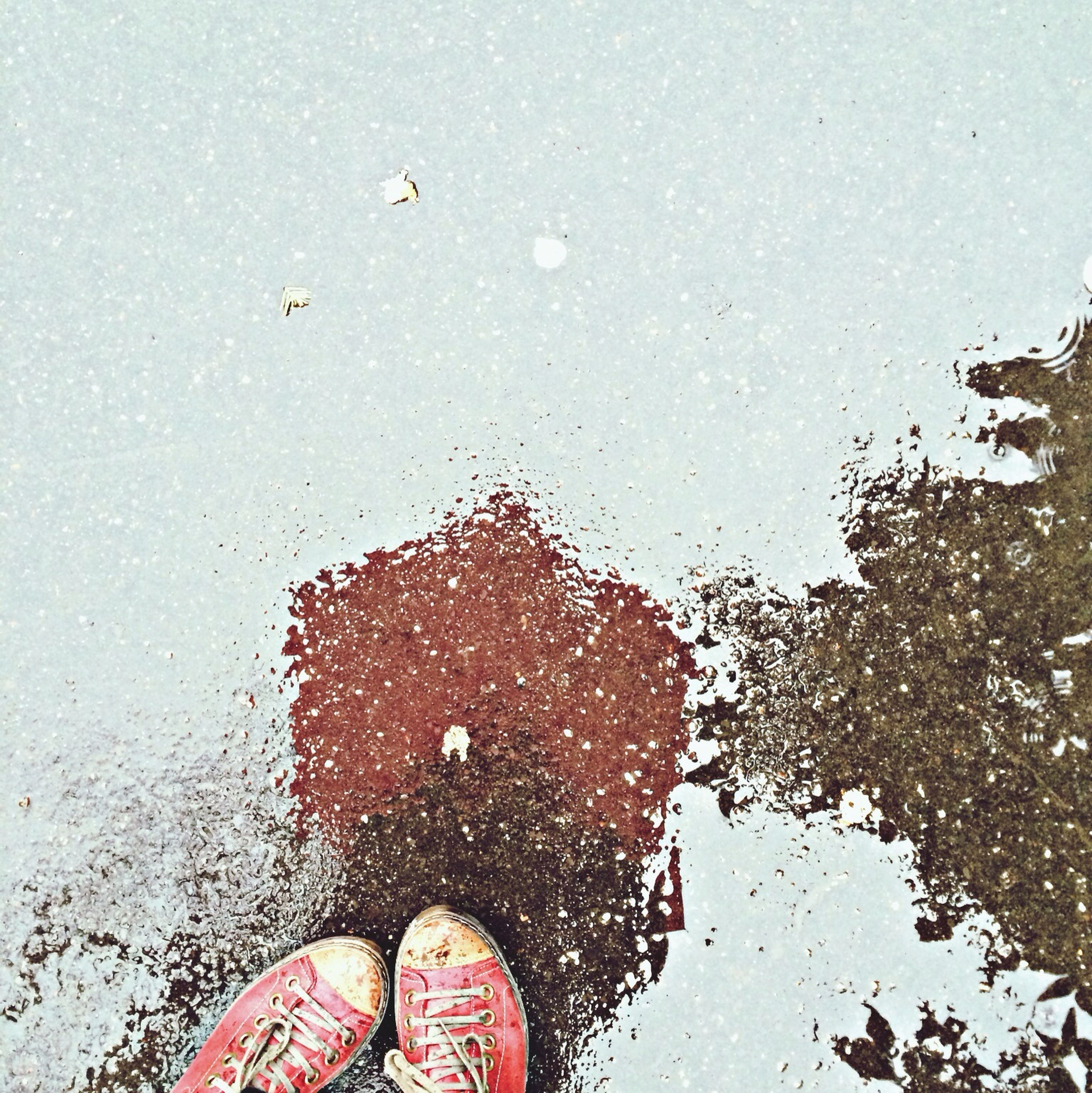 water, personal perspective, person, low section, shoe, wet, high angle view, lifestyles, human foot, leisure activity, puddle, unrecognizable person, reflection, standing, part of, transparent, footwear