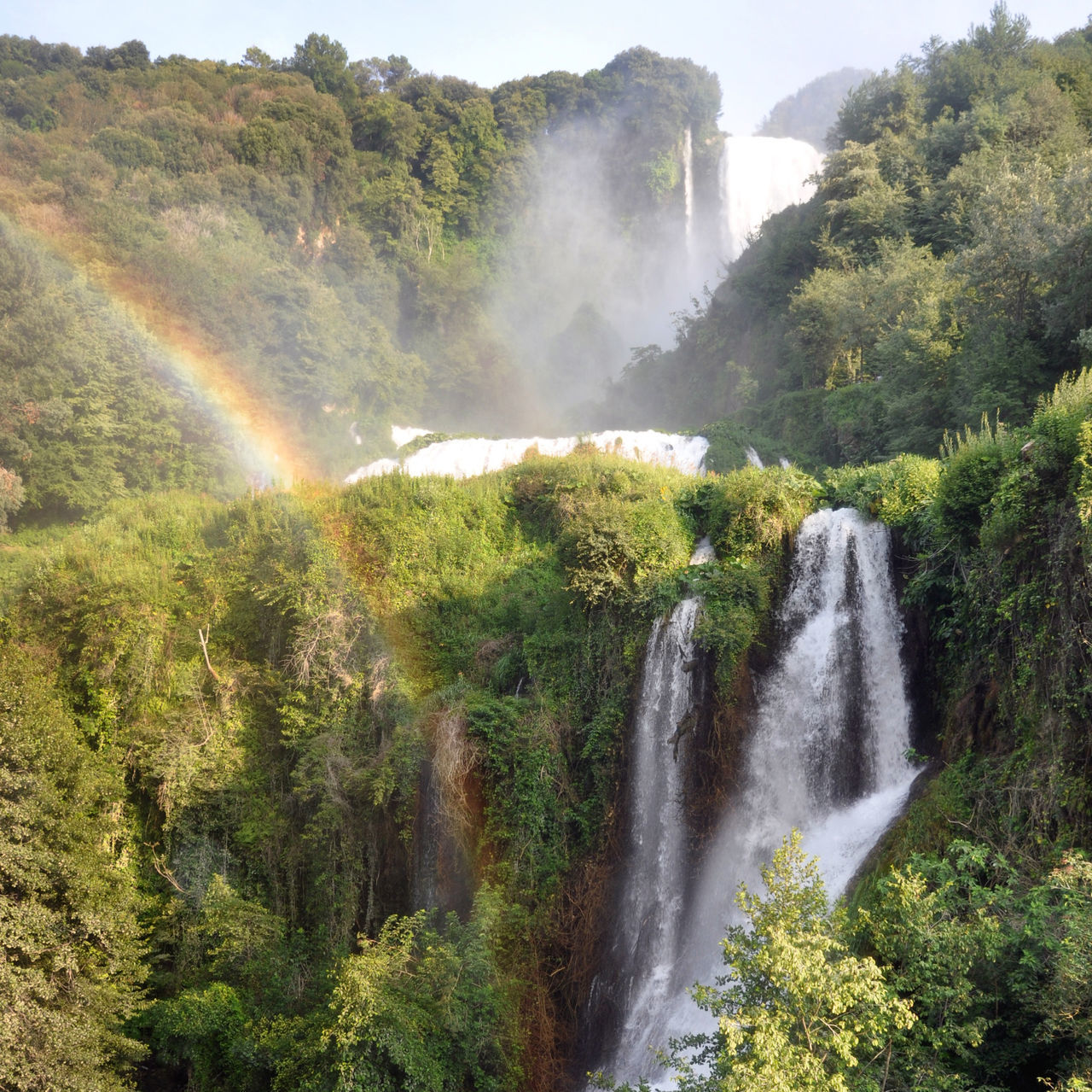 Waterfall with rainbow Beauty In Nature Beauty In Nature Cascate Delle Marmore Day Freshness Green Green Color Growth Italy Landscape Motion Mountain Nature No People Outdoors Rainbow Scenics Stream - Flowing Water Tree Umbria Water Waterfall