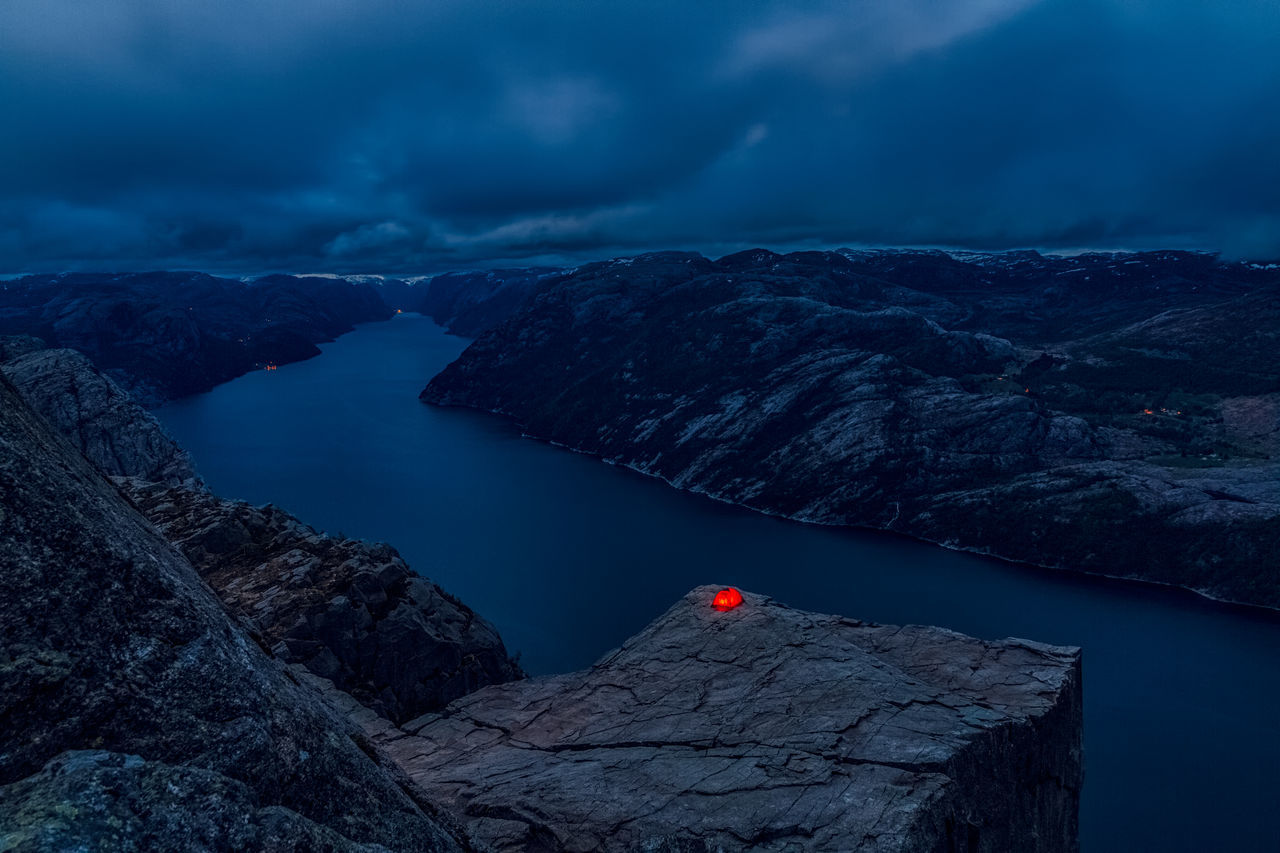 Adrenaline camping on Preikestolen. Adventure Beauty In Nature Blue Camping Dark Dengler Hike Hour Lake Landscape Lysefjord Matthias Mountain Mountains Nature Nature Norway Norway🇳🇴 Outdoors Snapshopped Stavanger Tent Travel Water Camp