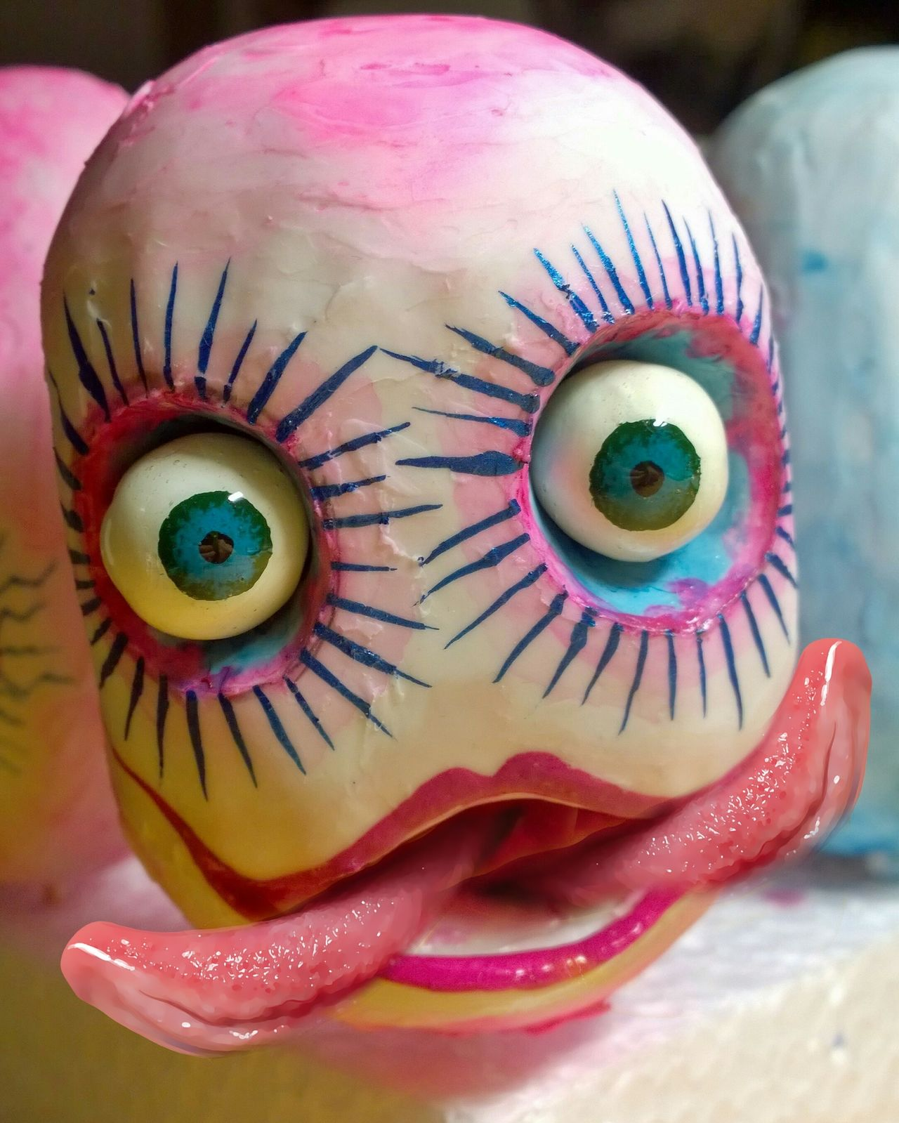 Art Sculpture Sculptures Arts Culture And Entertainment Mixed Media Painting Close-up Pink Color Doll Multi Colored Dolls Head