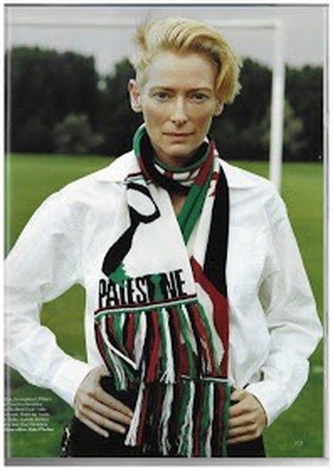 Tilda Swinton.. So cool!! Free Palestine Free Palestine Free The World