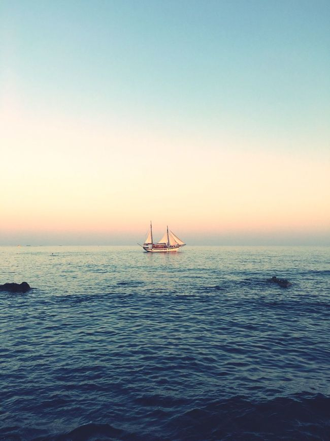 Lonesome Boat Horizon Over Water