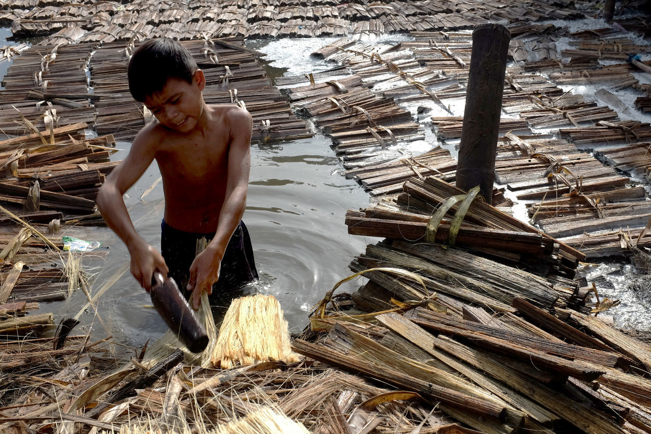An eleven year old boy from Cebu, Philippines are preparing the material for making broom. The Photojournalist - 2015 EyeEm Awards The Action Photographer - 2015 EyeEm Awards The Traveler - 2015 EyeEm Awards EyeEm Phillipines Children Photography Street Photography Colors Capturing Movement