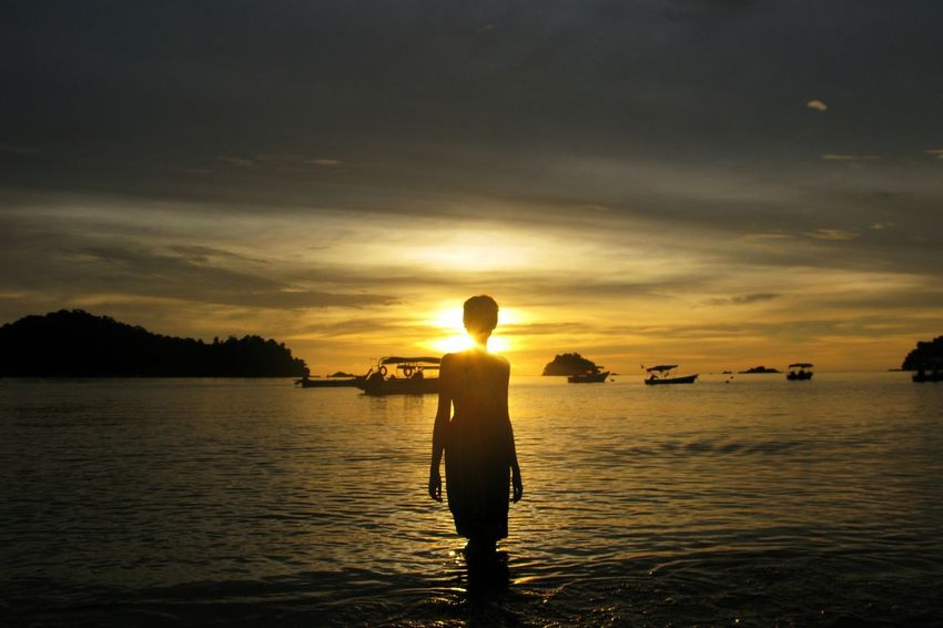 Beach Sunset_collection Sunset Silhouettes Malaysia Pangkor Island Glitch