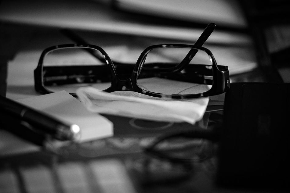 The eye glasses Close-up Day Desk Education Glasses Indoors  Monochrome Photography No People Office Pen Pensil Table Vision