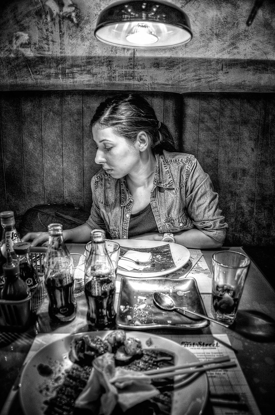 Black & White Blackandwhite Candid Candid Portraits Close-up Dinner Focus On Foreground Indoors  Lamp Light And Shadow Marcokleinphotography One Person Table Woman The Portraitist - 2016 EyeEm Awards Mobile Conversations