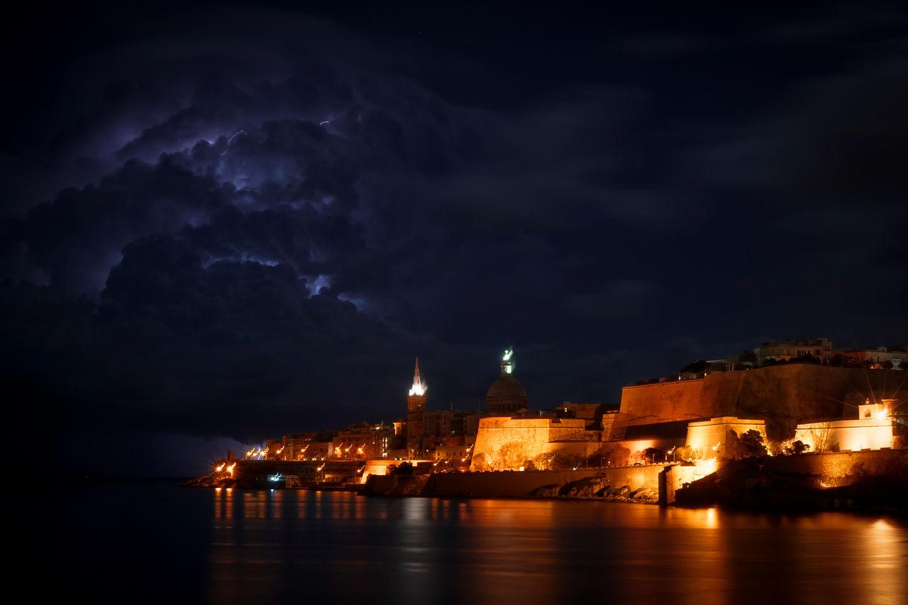 Stormy night over Valletta, Malta Architecture Blue Sky Buildings & Sky Illuminated Lightning Storm Malta Medeteranian Sea Night No People Outdoors Sky Storm Storm Cloud Stormy Weather Valletta Water