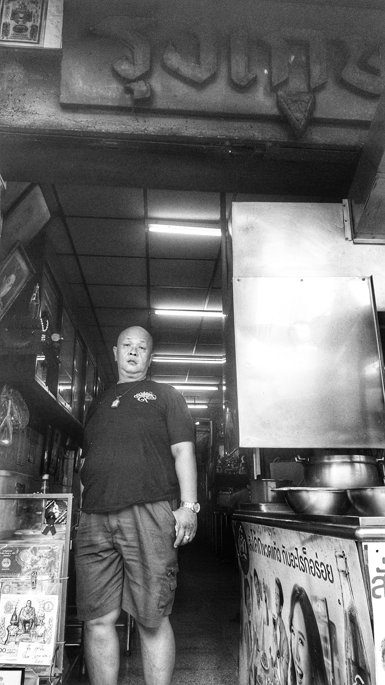 Indoors  Full Length Standing One Person Real People People Day One Man Only Street Life Streetphotography Street Photography Bangkok Thailand. Thaprachan Human Of Bangkok Bangkok Thaprajan Monochrome Photography Black And White Photography Black & White Working Responsibility Chef Commercial Kitchen Only Men Kitchen