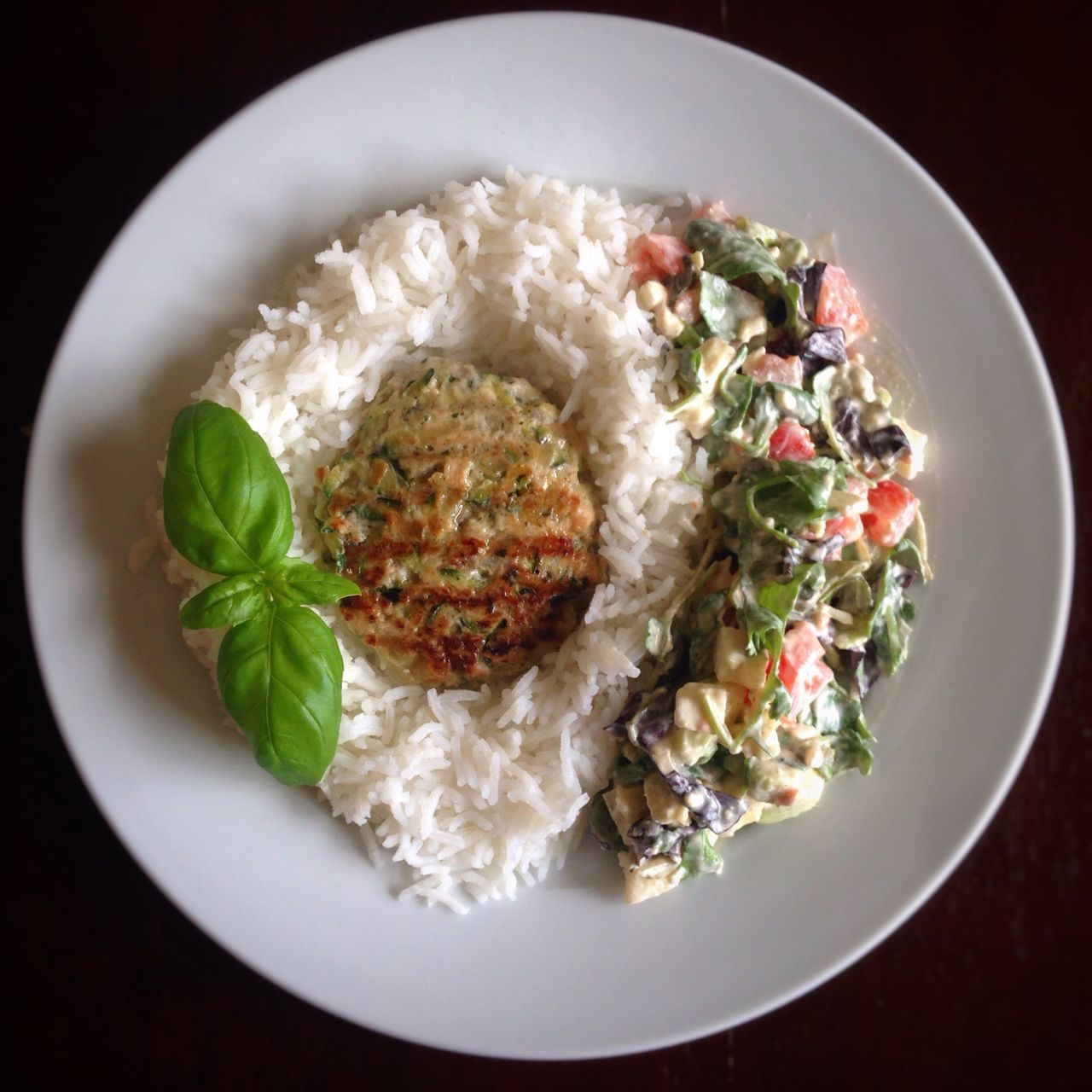 Turkey Burger With Courgette Rice Salad Fit Food Healthy Eat Eating Meal Delicious Mince Meat