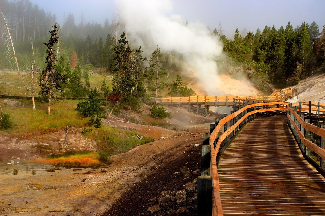 Footbridge Leading Towards Steam Coming Out From Geyser At Yellowstone National Park